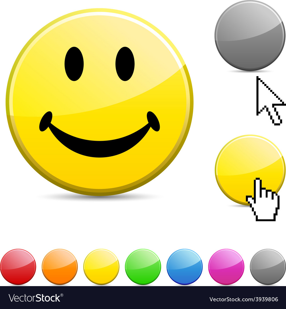 Smiley glossy button vector | Price: 1 Credit (USD $1)