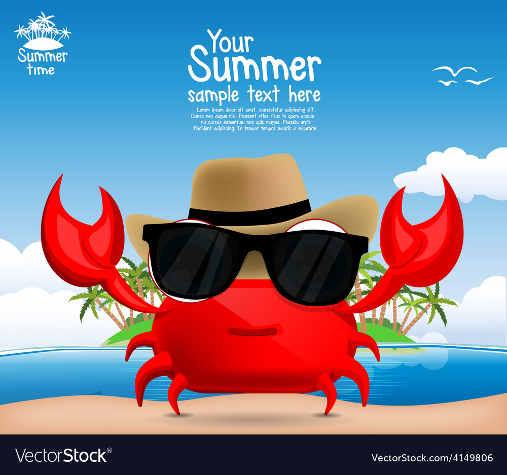 Summer background with a cute cartoon crab vector | Price: 1 Credit (USD $1)