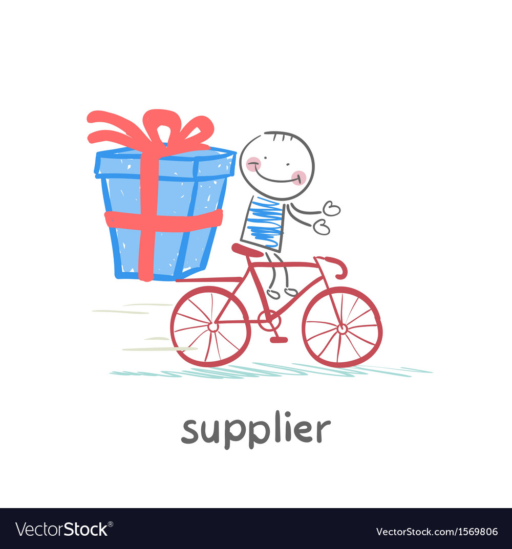 Supplier supplier rides a bike with the goods vector | Price: 1 Credit (USD $1)