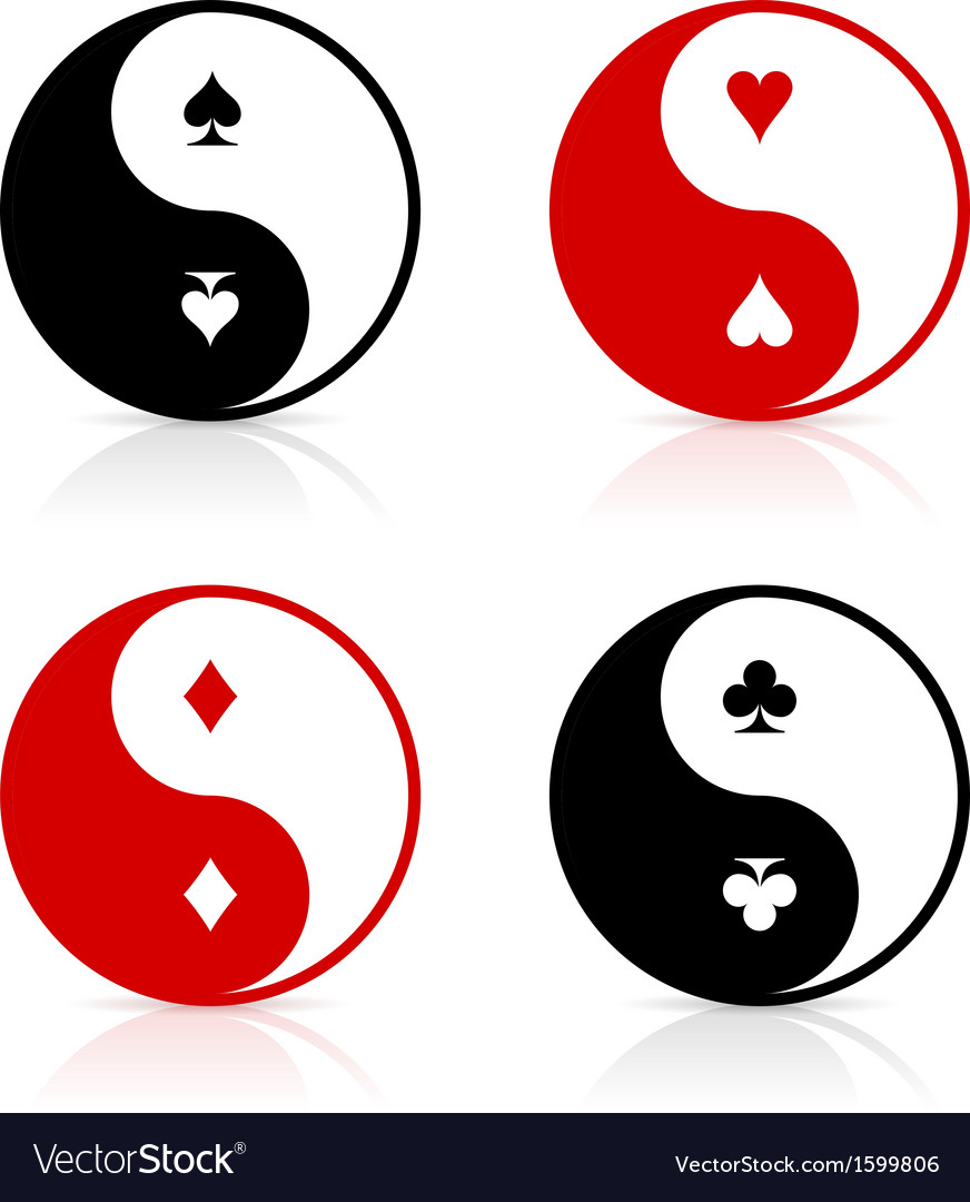 Yin-yang symbols with card suits vector | Price: 1 Credit (USD $1)
