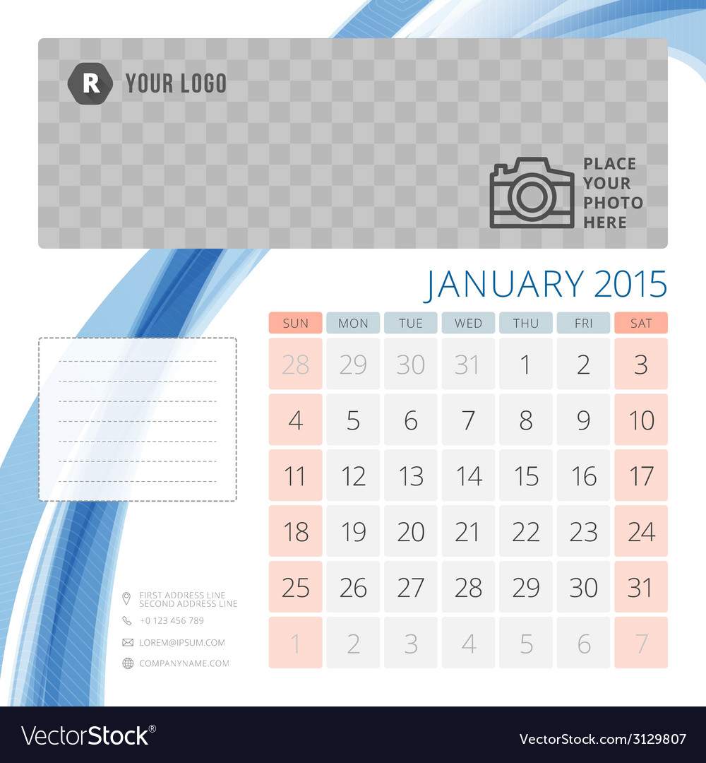 Calendar 2015 january template with place for vector | Price: 1 Credit (USD $1)