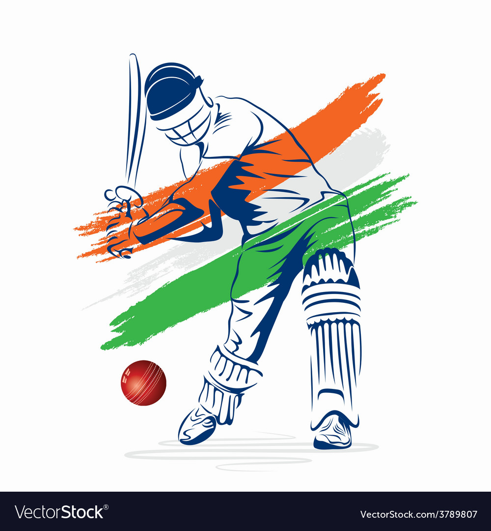 Cricket player hi the ball design by brush stroke vector | Price: 1 Credit (USD $1)