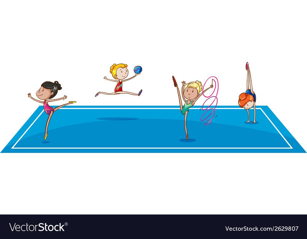 Gymnasts at the quadrangle vector | Price: 1 Credit (USD $1)