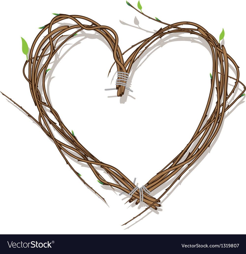 Heart woven of twigs isolated on white vector | Price: 1 Credit (USD $1)