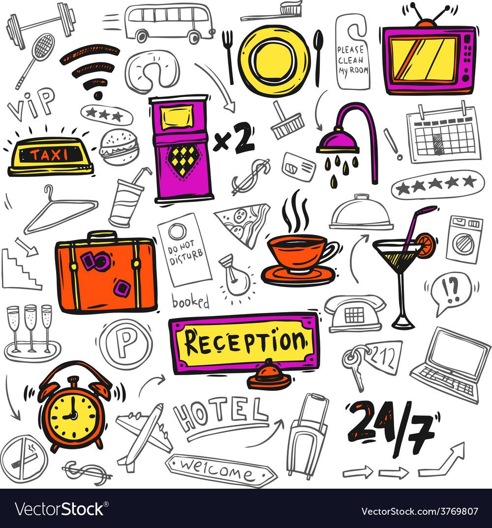 Hotel service icons doodle sketch vector | Price: 1 Credit (USD $1)