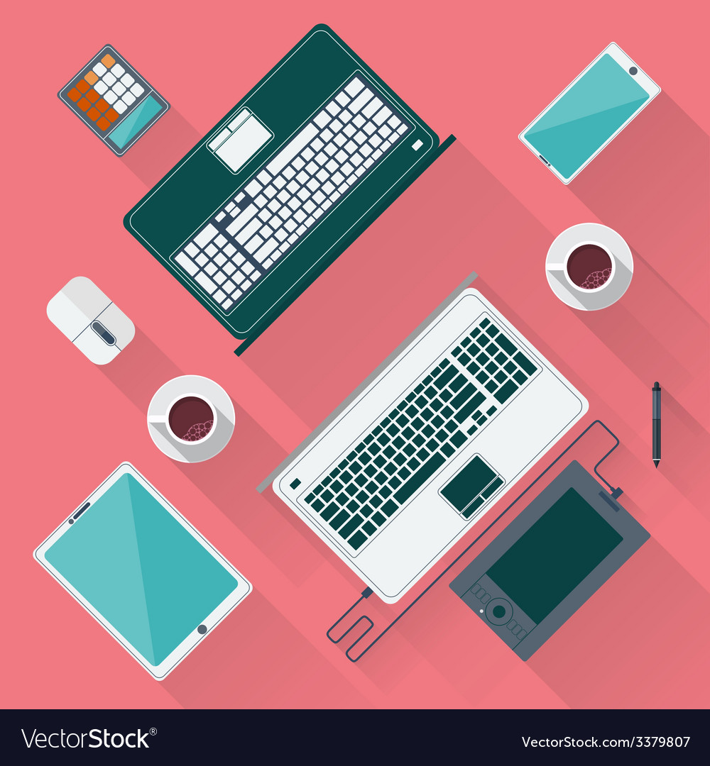 Office desk with laptop tablet smartphone vector | Price: 1 Credit (USD $1)
