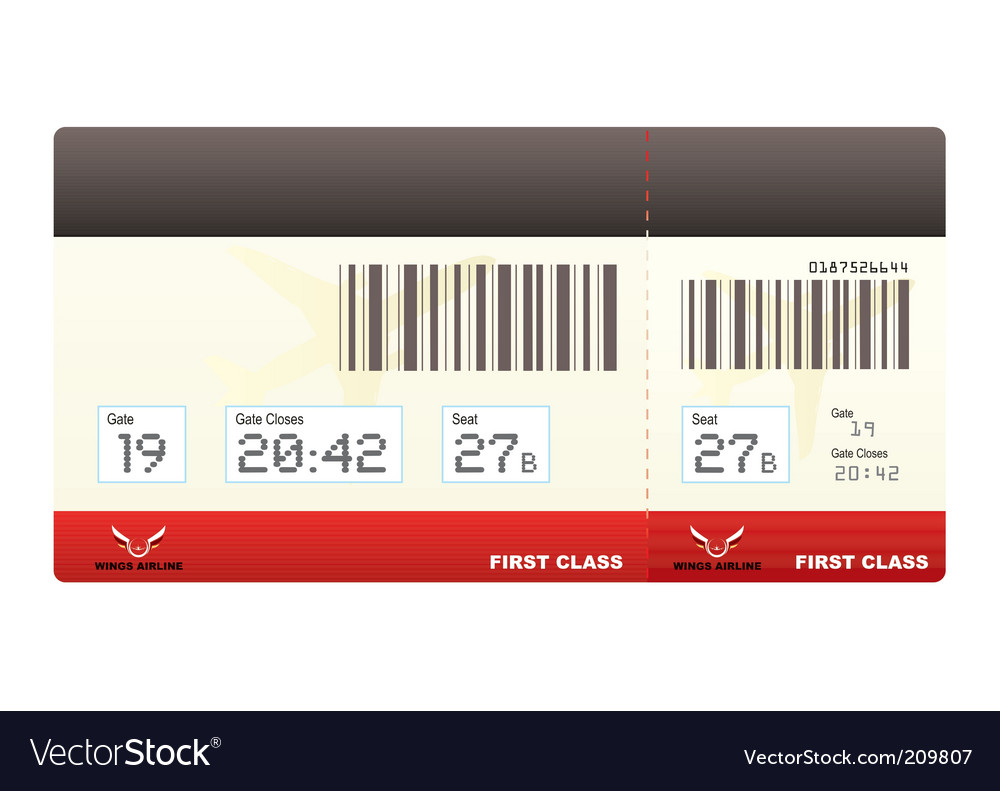 Plane tickets first class swipe vector | Price: 1 Credit (USD $1)