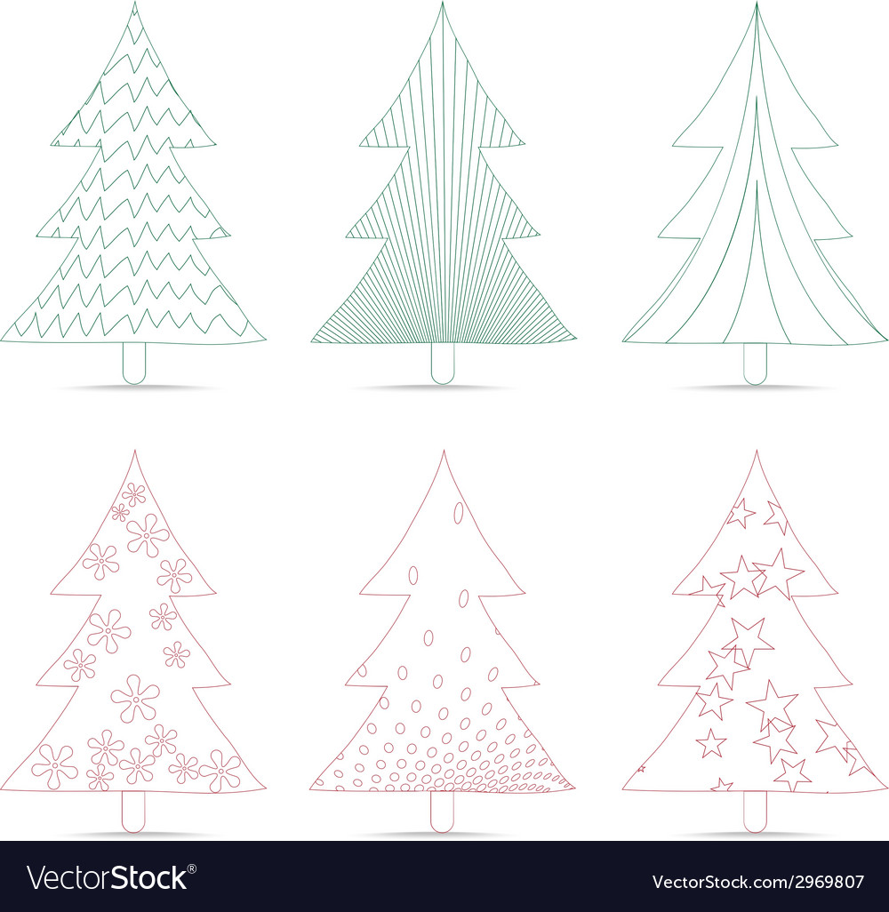 Set of christmas trees sketches for design vector | Price: 1 Credit (USD $1)