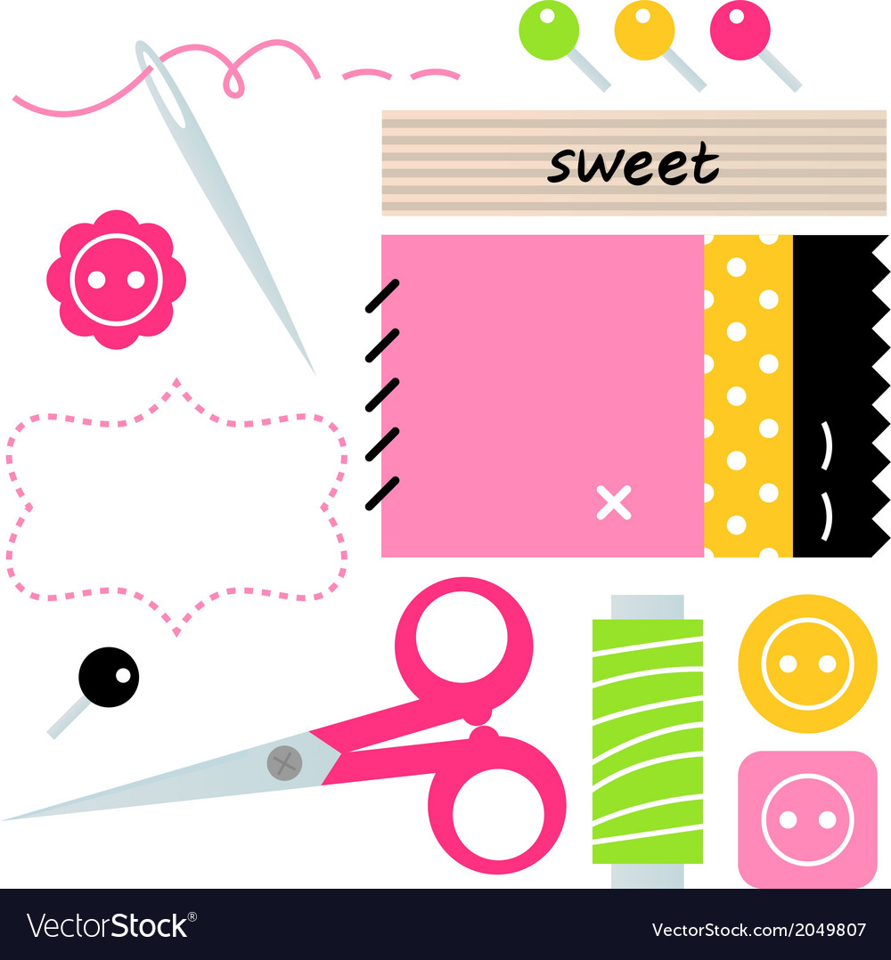Sewing and needlework accessories vector | Price: 1 Credit (USD $1)