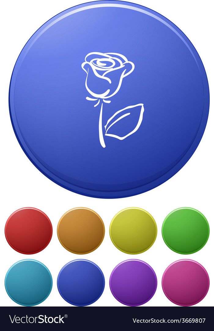 Small buttons and a big button with a flower vector | Price: 1 Credit (USD $1)