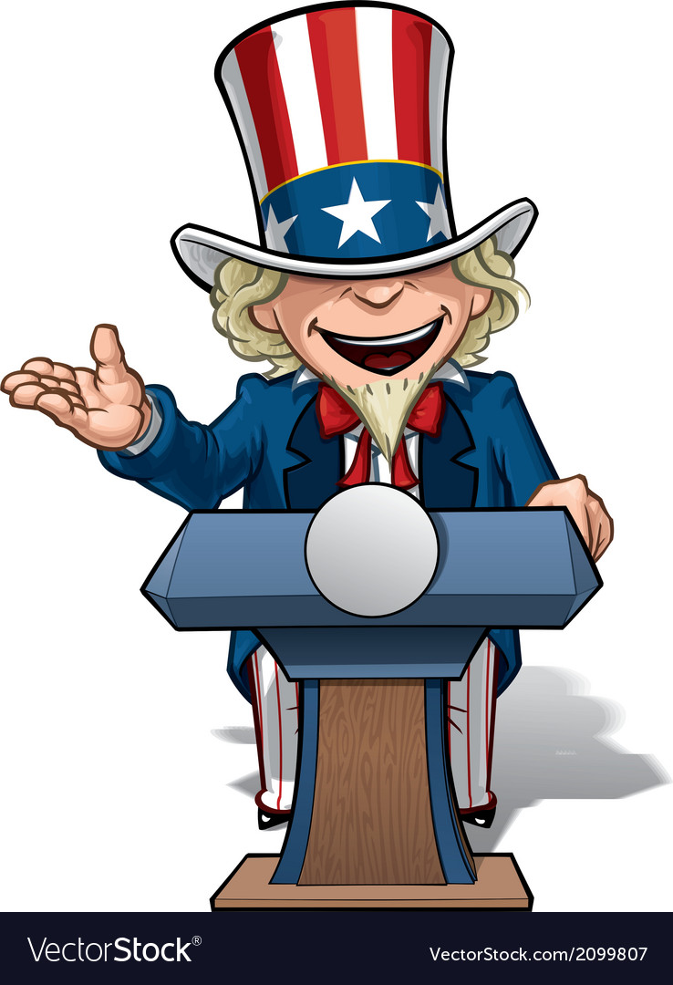 Uncle sam presidential podium open vector | Price: 1 Credit (USD $1)