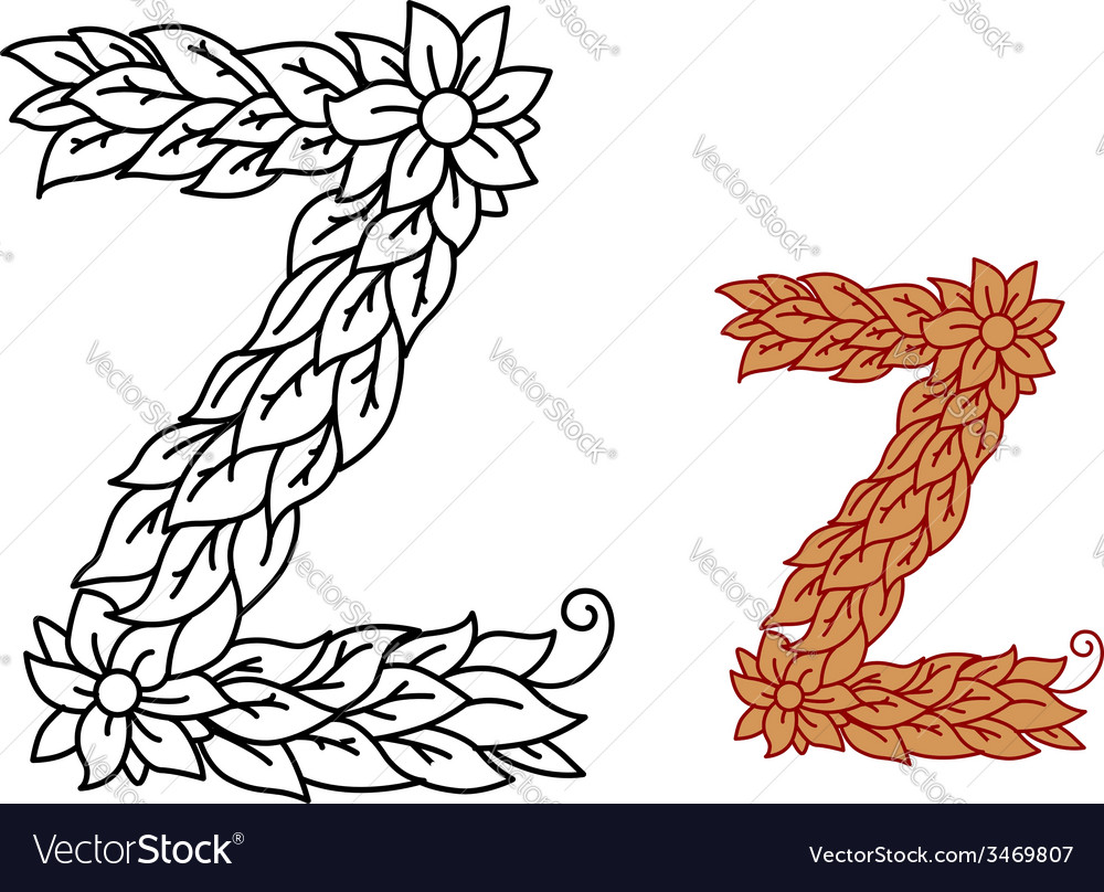Uppercase letter z in a foliate font with leaves vector | Price: 1 Credit (USD $1)