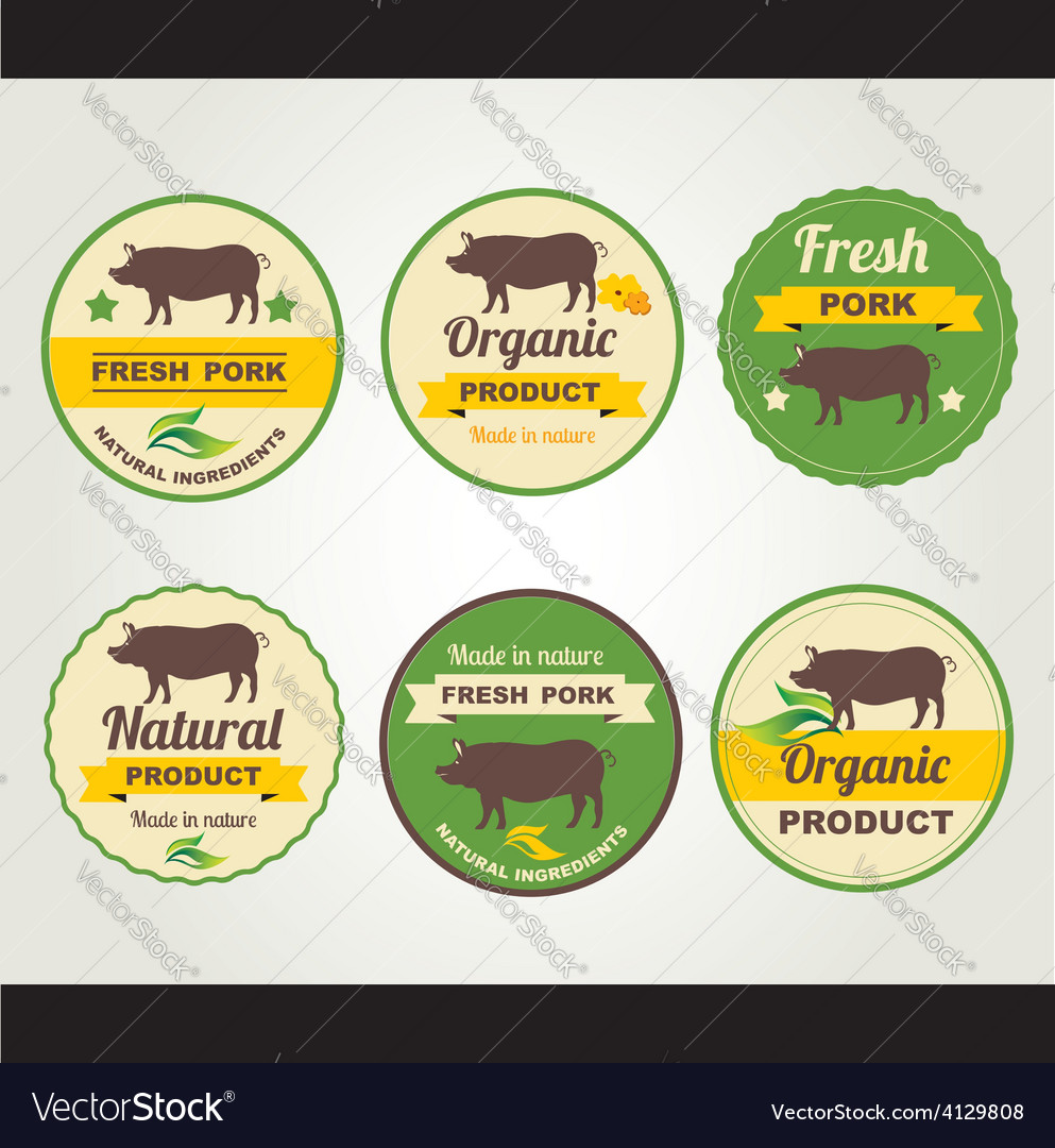 Badges pork organic product design template vector | Price: 1 Credit (USD $1)