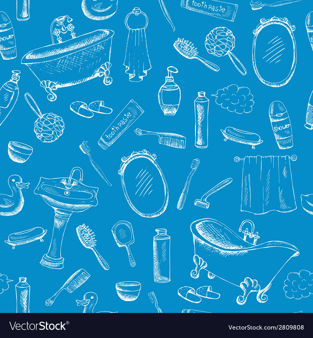 Bathroom themed design on blue background vector | Price: 1 Credit (USD $1)