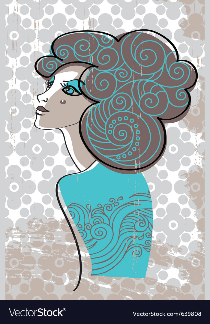 Beautiful woman in retro style vector | Price: 3 Credit (USD $3)