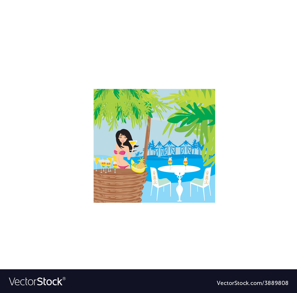 Beautiful young woman at the summer lounge vector | Price: 1 Credit (USD $1)