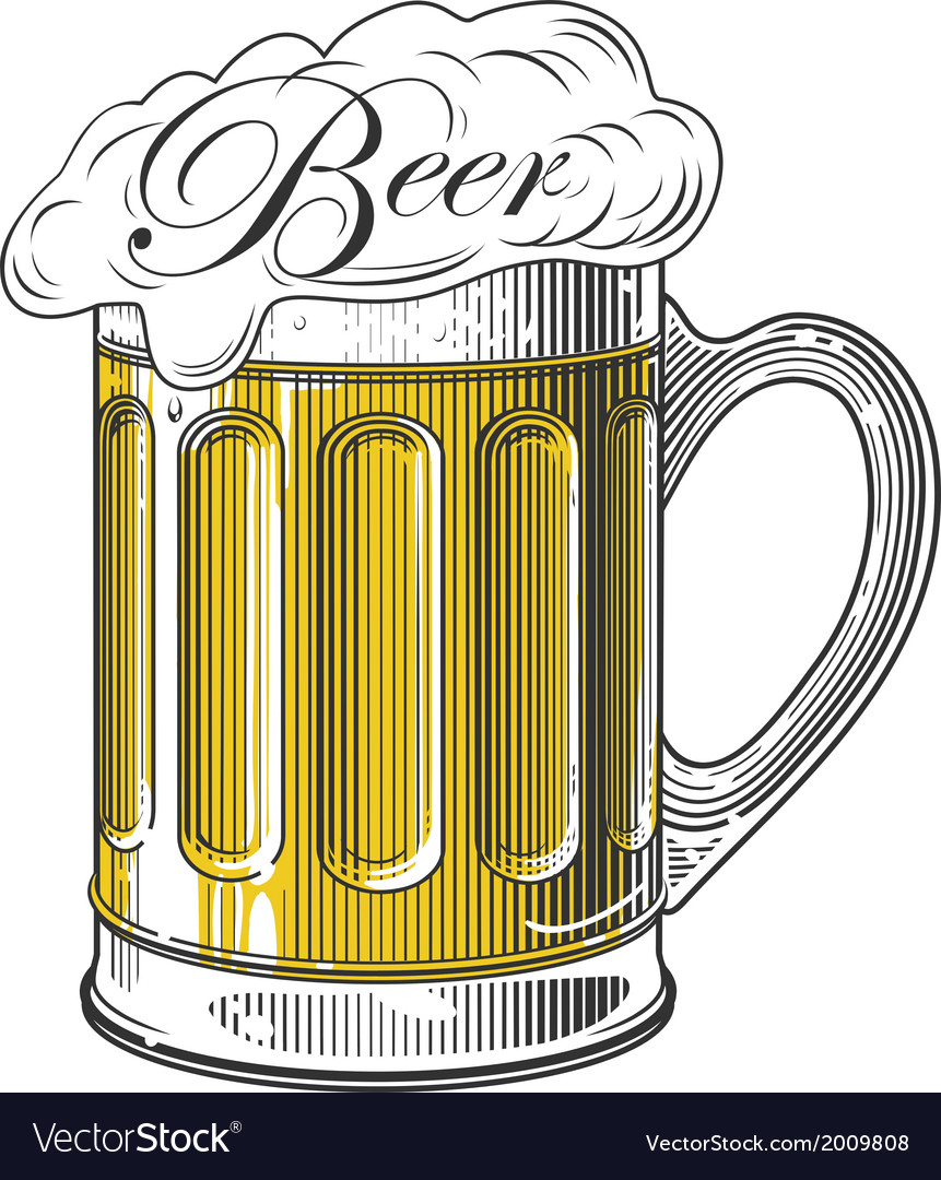 Beer in vintage engraving style vector | Price: 1 Credit (USD $1)
