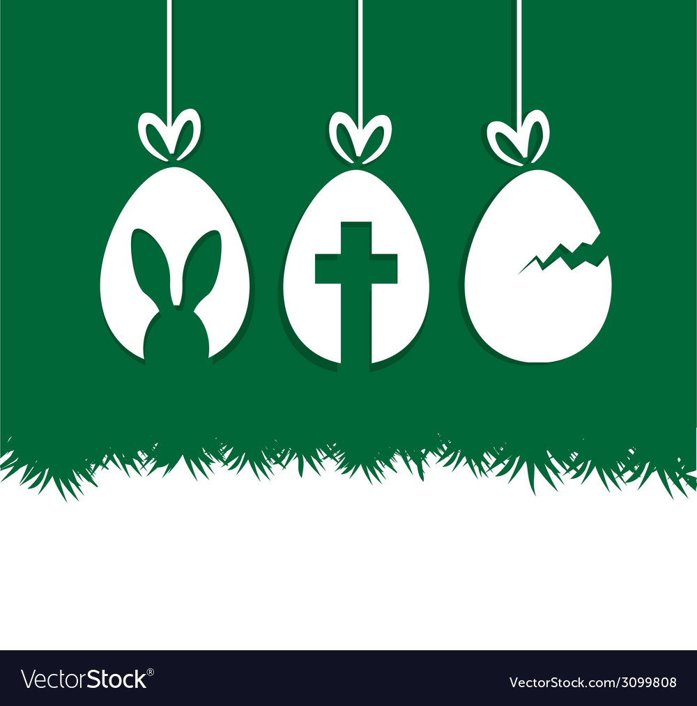 Easter hanging eggs gift greeting card vector | Price: 1 Credit (USD $1)