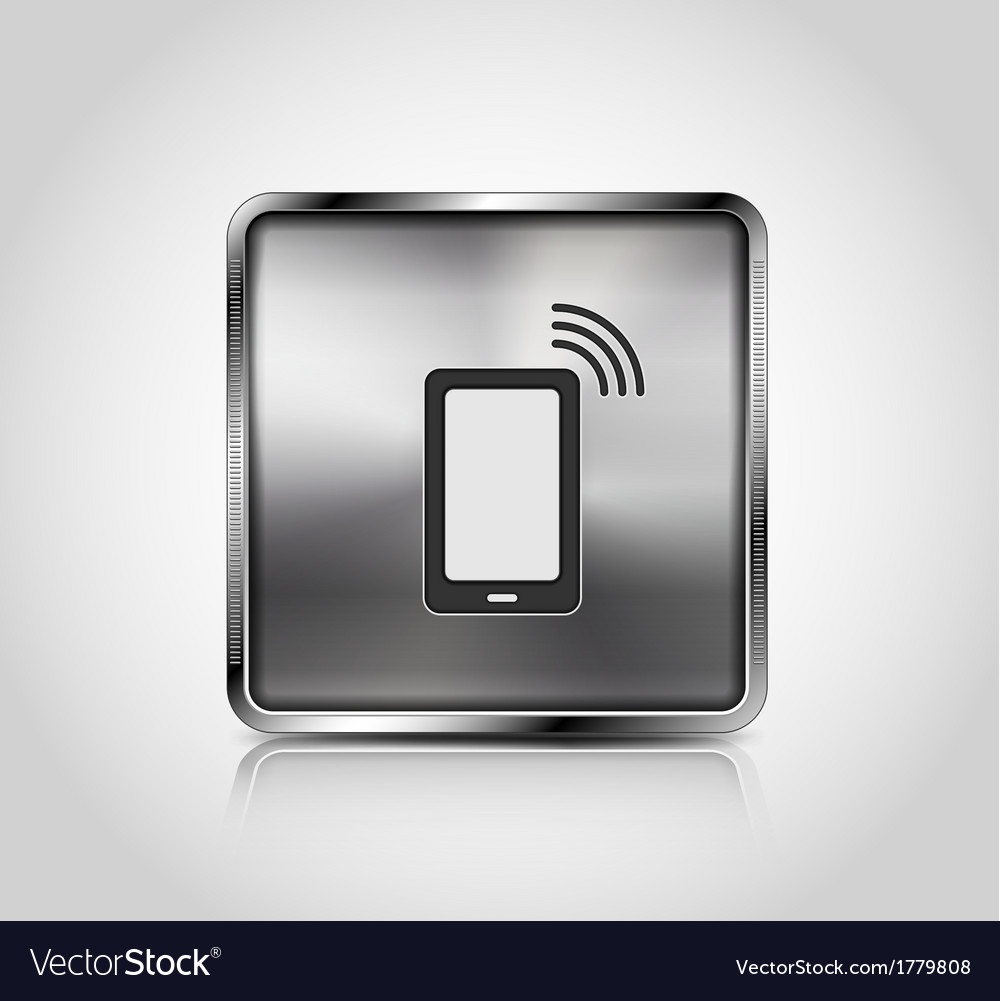 Metal icon smartphone wireless connection vector | Price: 1 Credit (USD $1)