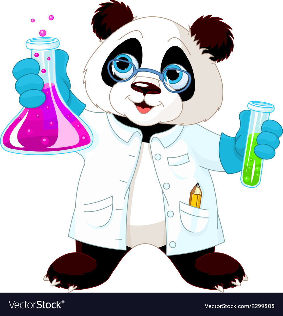 Panda scientist vector | Price: 1 Credit (USD $1)