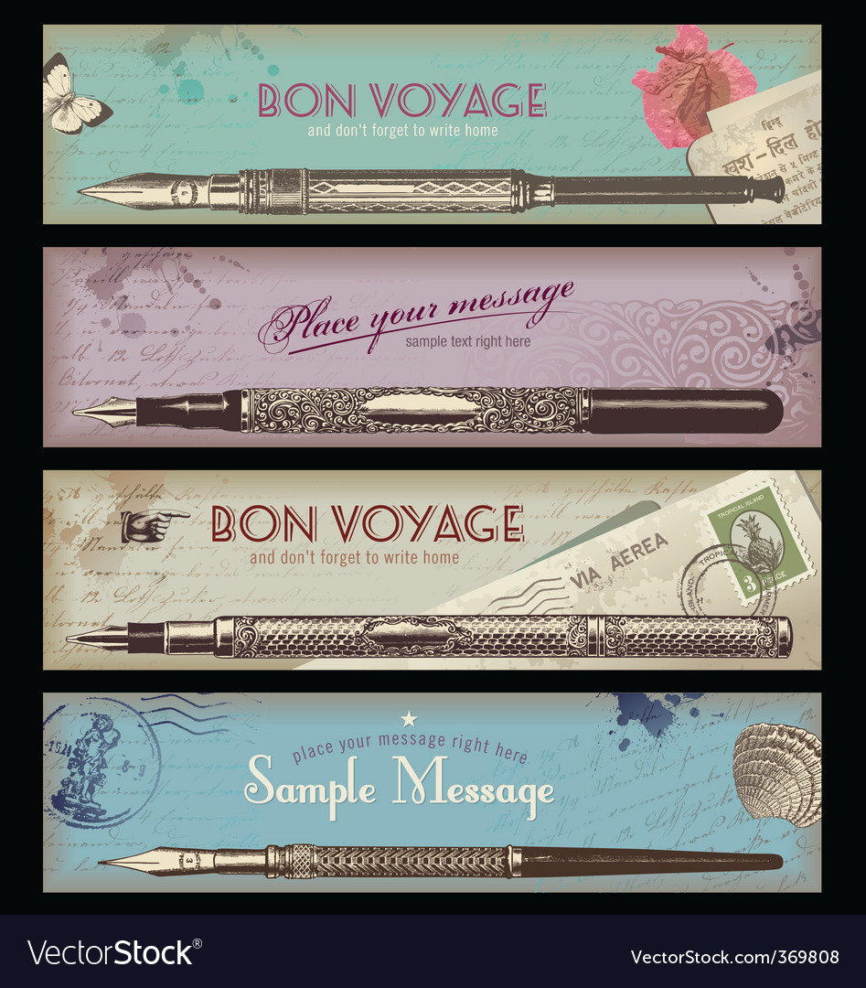 Retro travel or writing banner vector | Price: 3 Credit (USD $3)