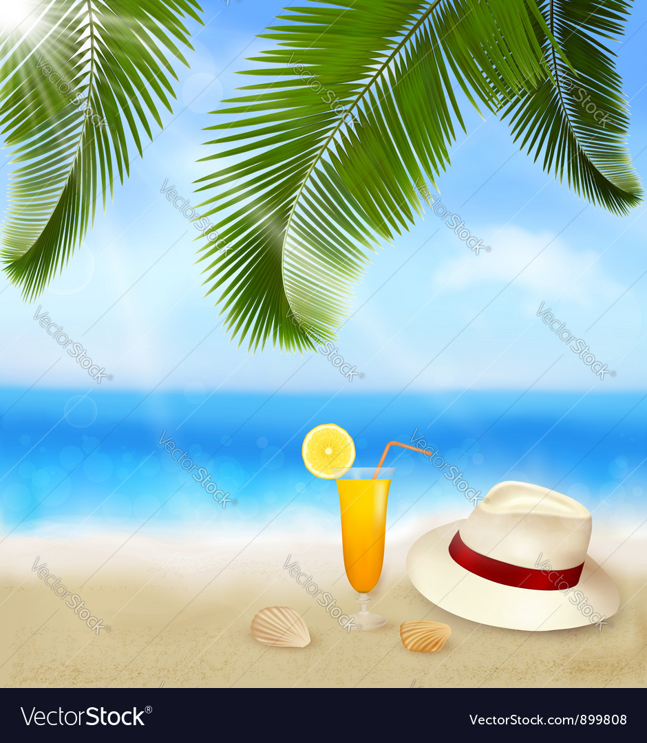 Seaside view with palm leaves vector   Price: 3 Credit (USD $3)