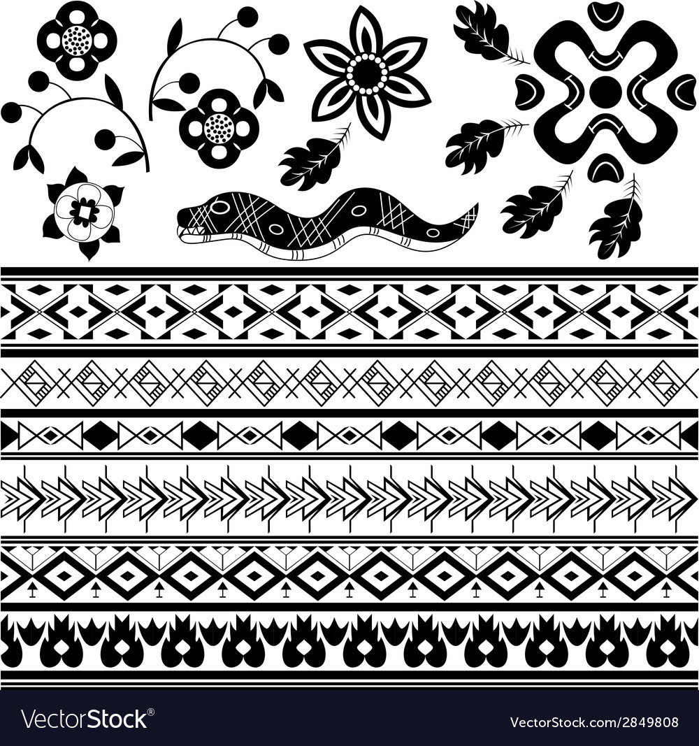 Set of ancient american ornaments vector | Price: 1 Credit (USD $1)