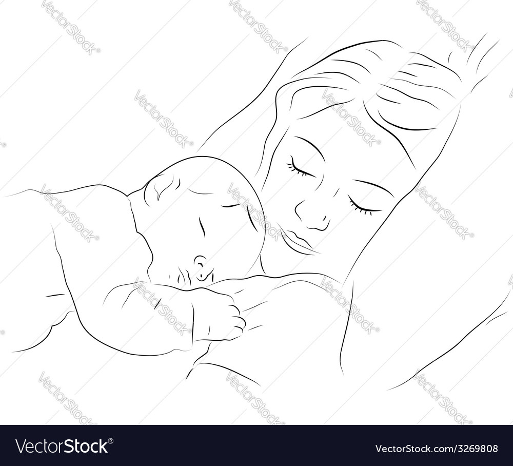 Sleeping mother and baby icon vector | Price: 1 Credit (USD $1)