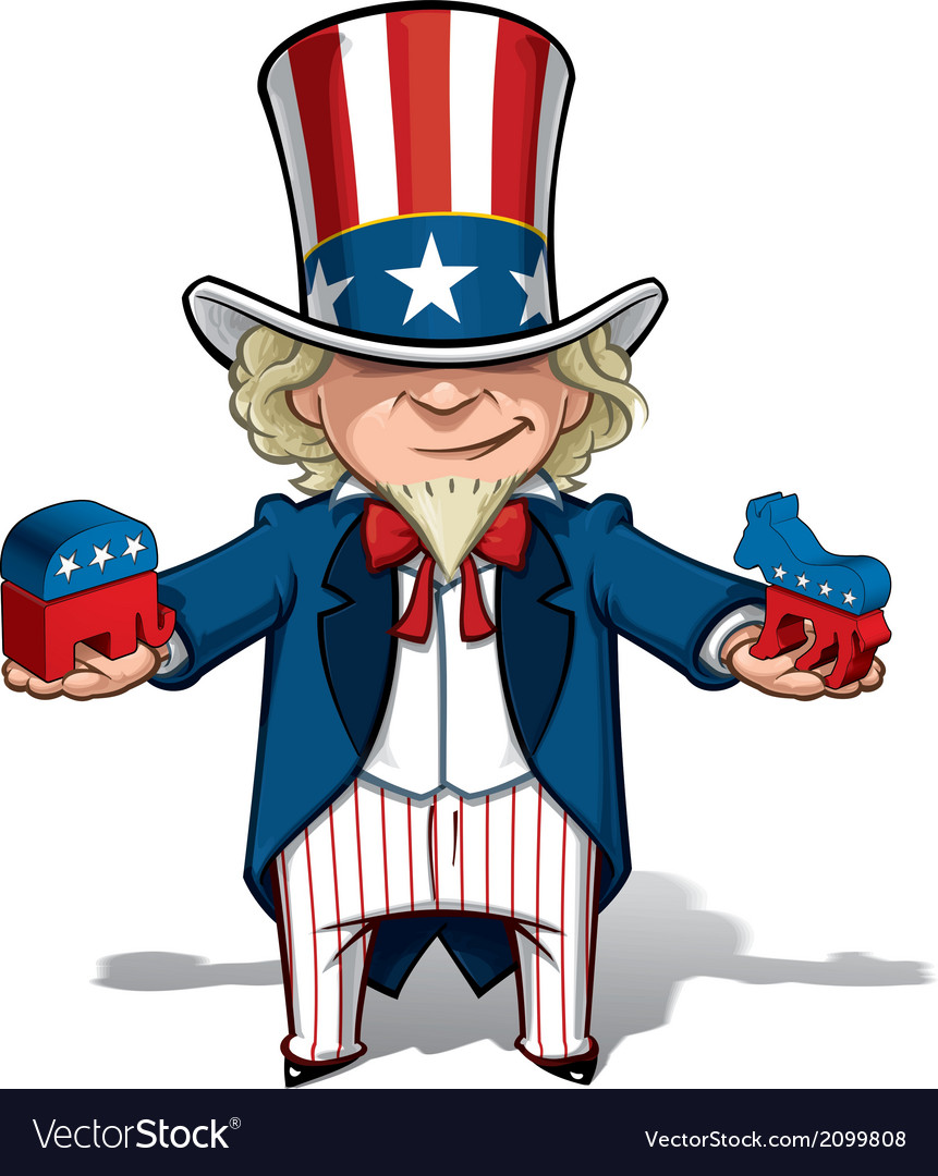 Uncle sam republican n democratic vector | Price: 1 Credit (USD $1)