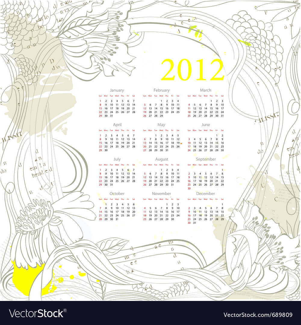 Calendar for 2012 on grunge background vector | Price: 1 Credit (USD $1)