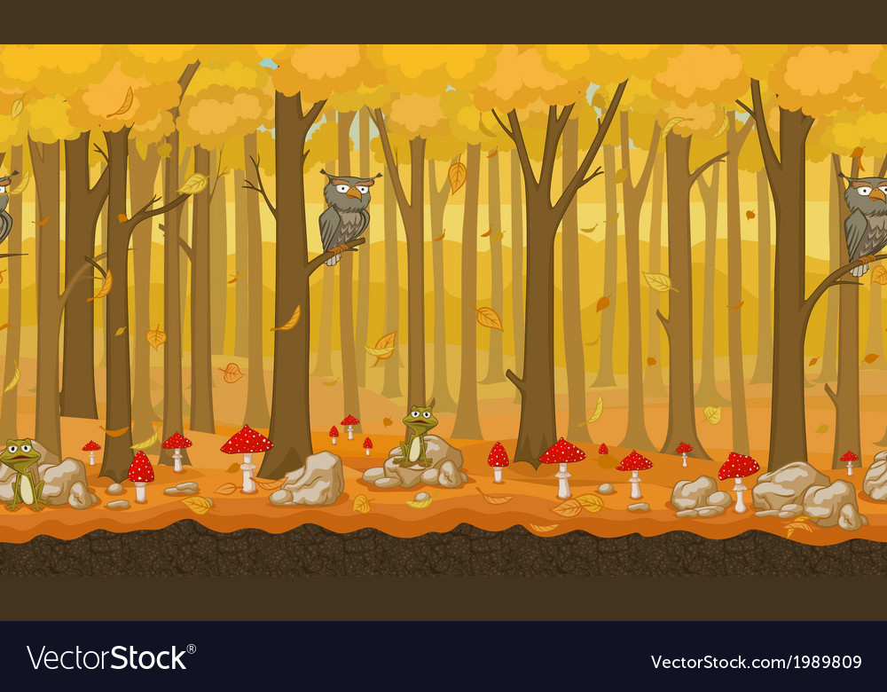 Cartoon autumn seamless forest background vector | Price: 1 Credit (USD $1)