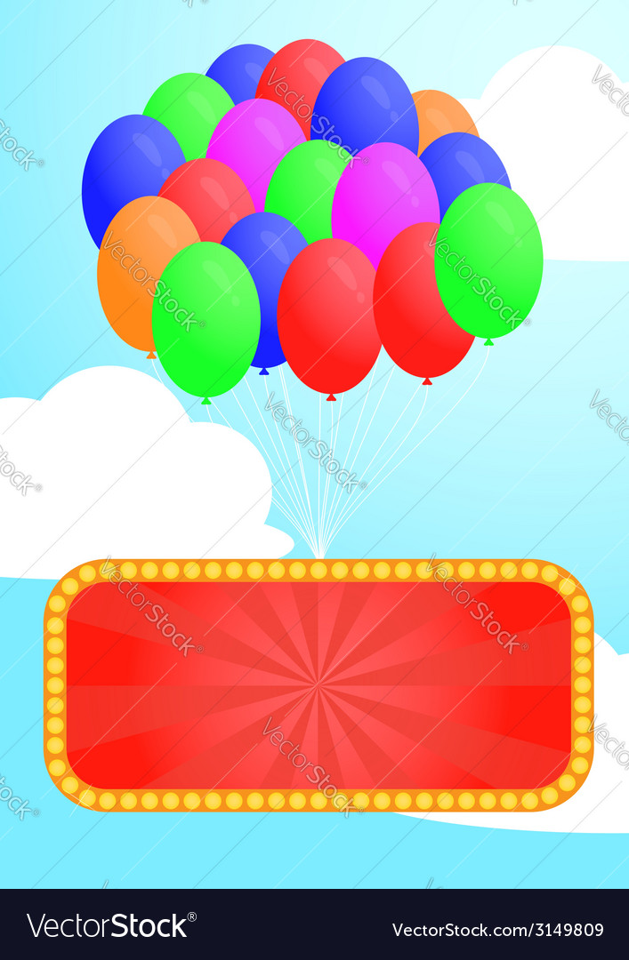 Colorful balloon and advertising billboard vector | Price: 1 Credit (USD $1)