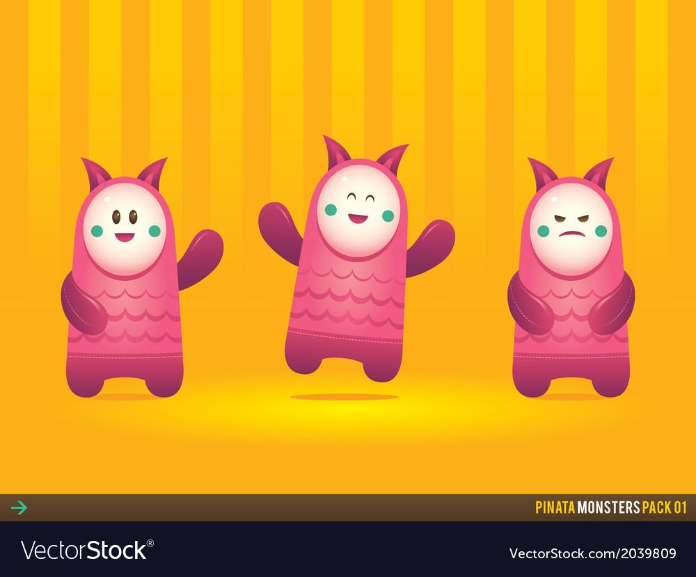 Cute pink pinata monsters vector   Price: 1 Credit (USD $1)