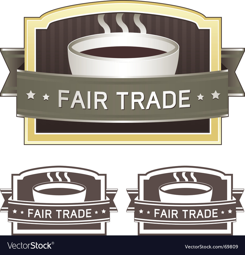 Fair trade coffee label vector | Price: 1 Credit (USD $1)