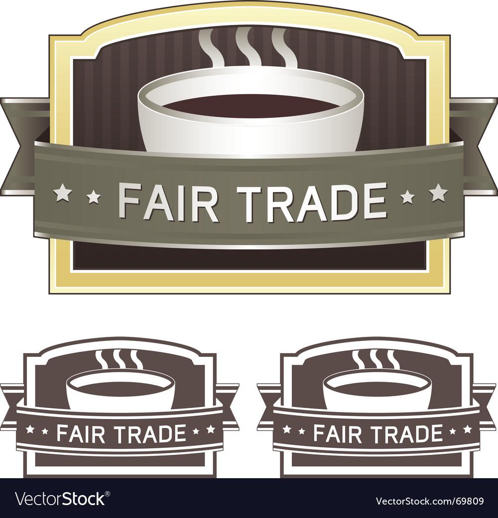 Fair trade coffee label vector | Price: 1 Credit (USD $1)