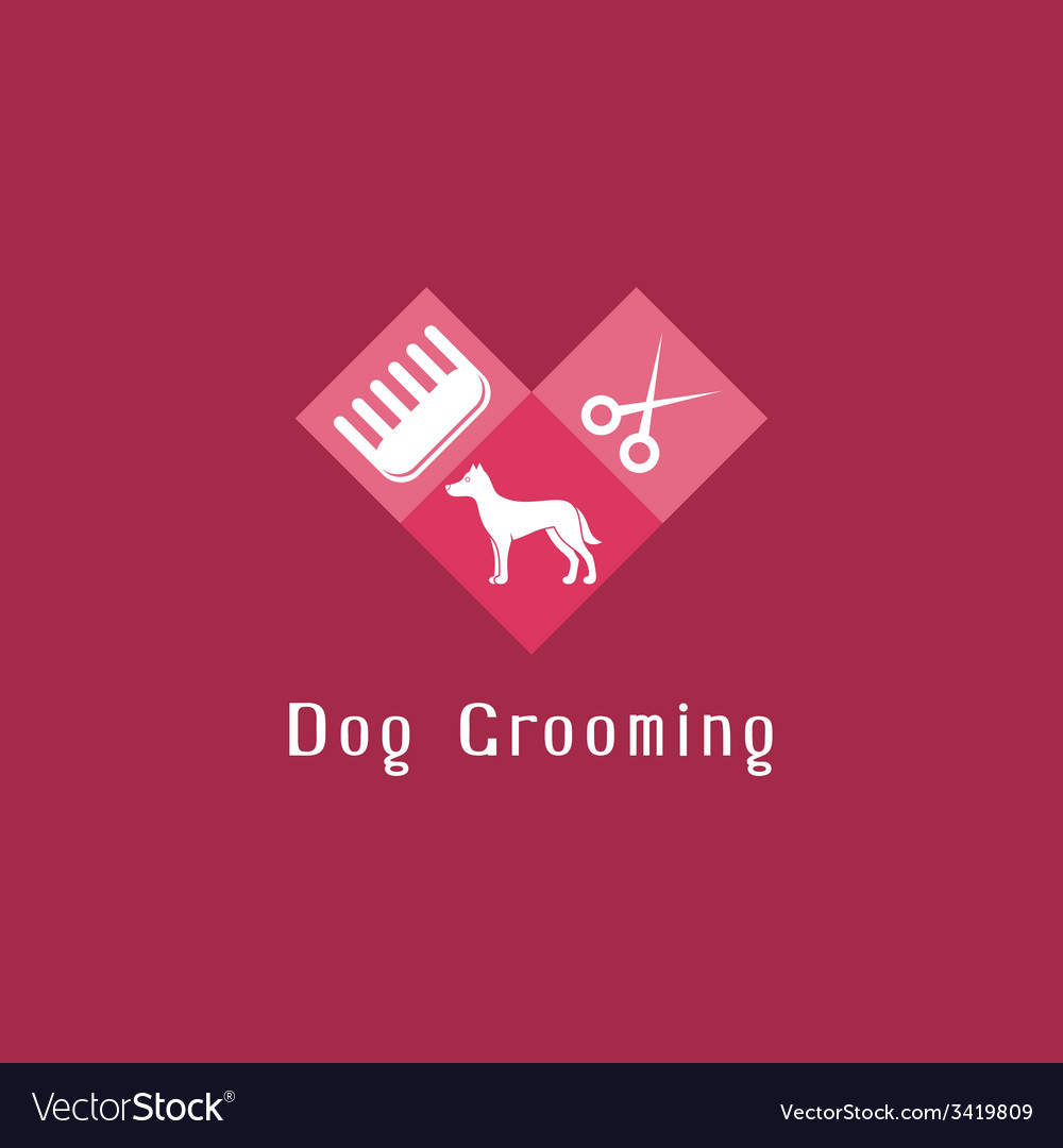 Flat pet grooming logo with dog vector | Price: 1 Credit (USD $1)