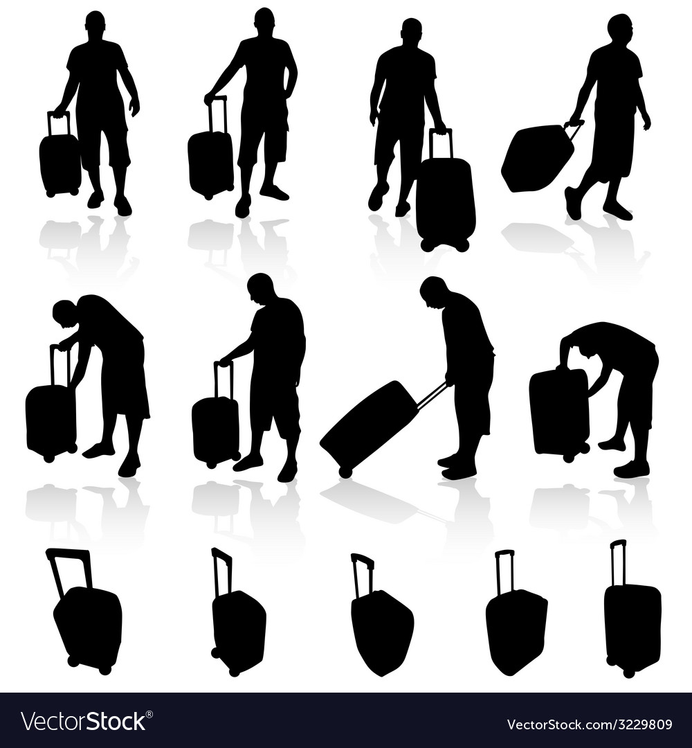 Man with bag silhouette vector | Price: 1 Credit (USD $1)
