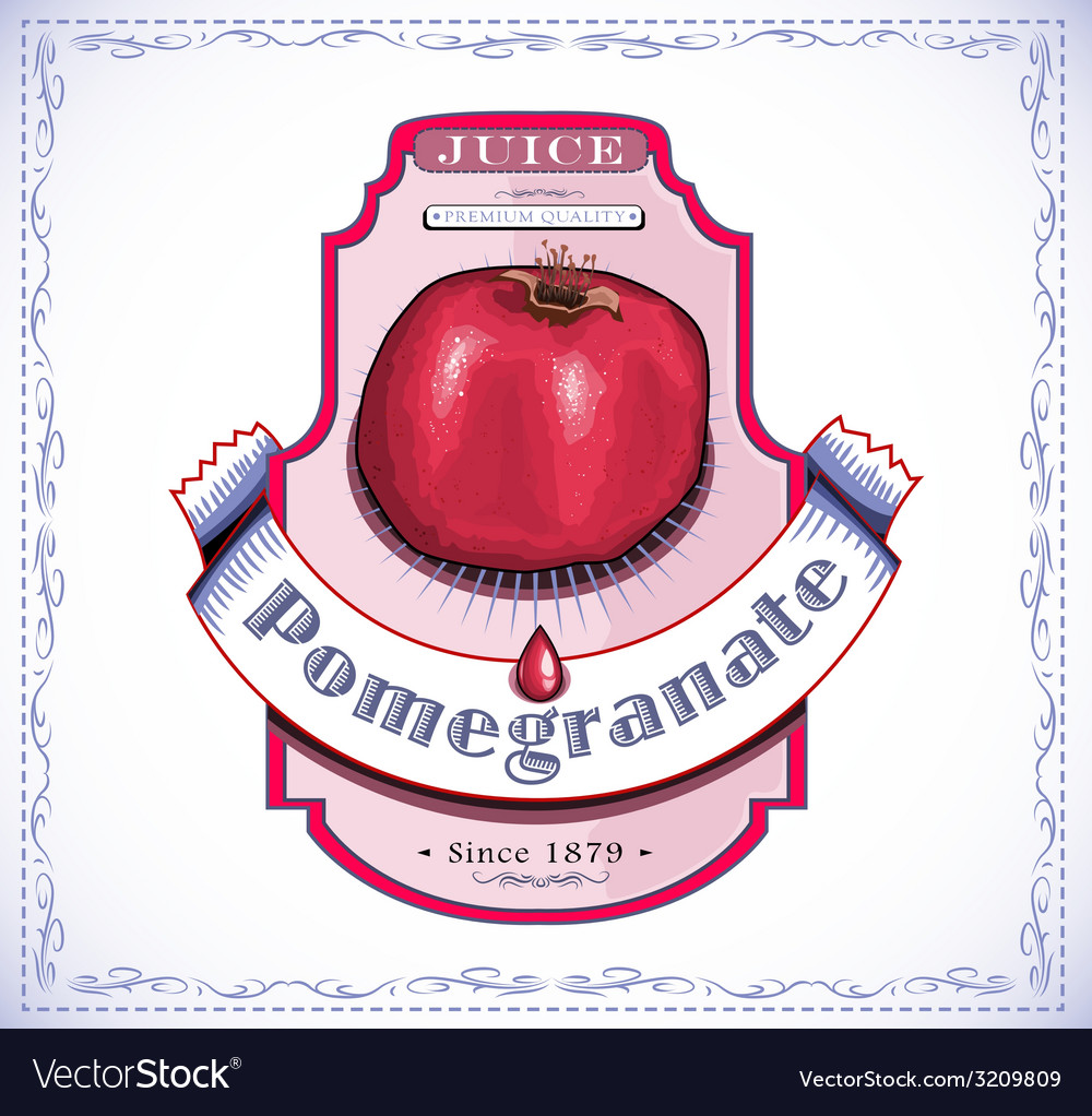 Ripe pomegranate on juice or fruit product label vector | Price: 1 Credit (USD $1)