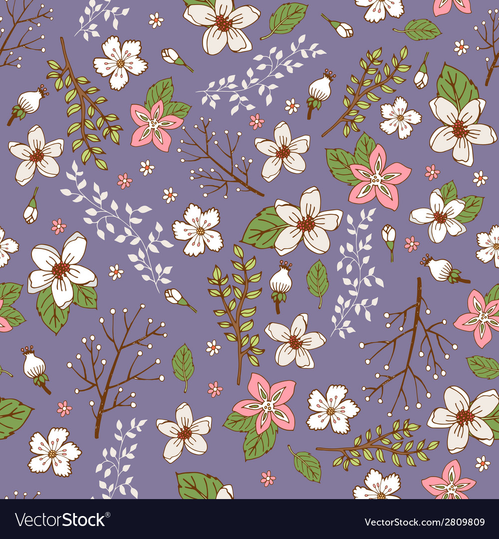 Seamless background with hand painted flowers vector | Price: 1 Credit (USD $1)