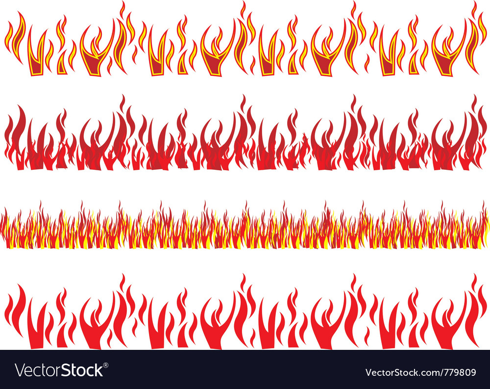 Set red fire to flames vector | Price: 1 Credit (USD $1)