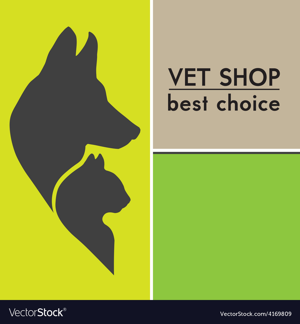 Silhouettes of a cat and dog on the poster vector | Price: 1 Credit (USD $1)