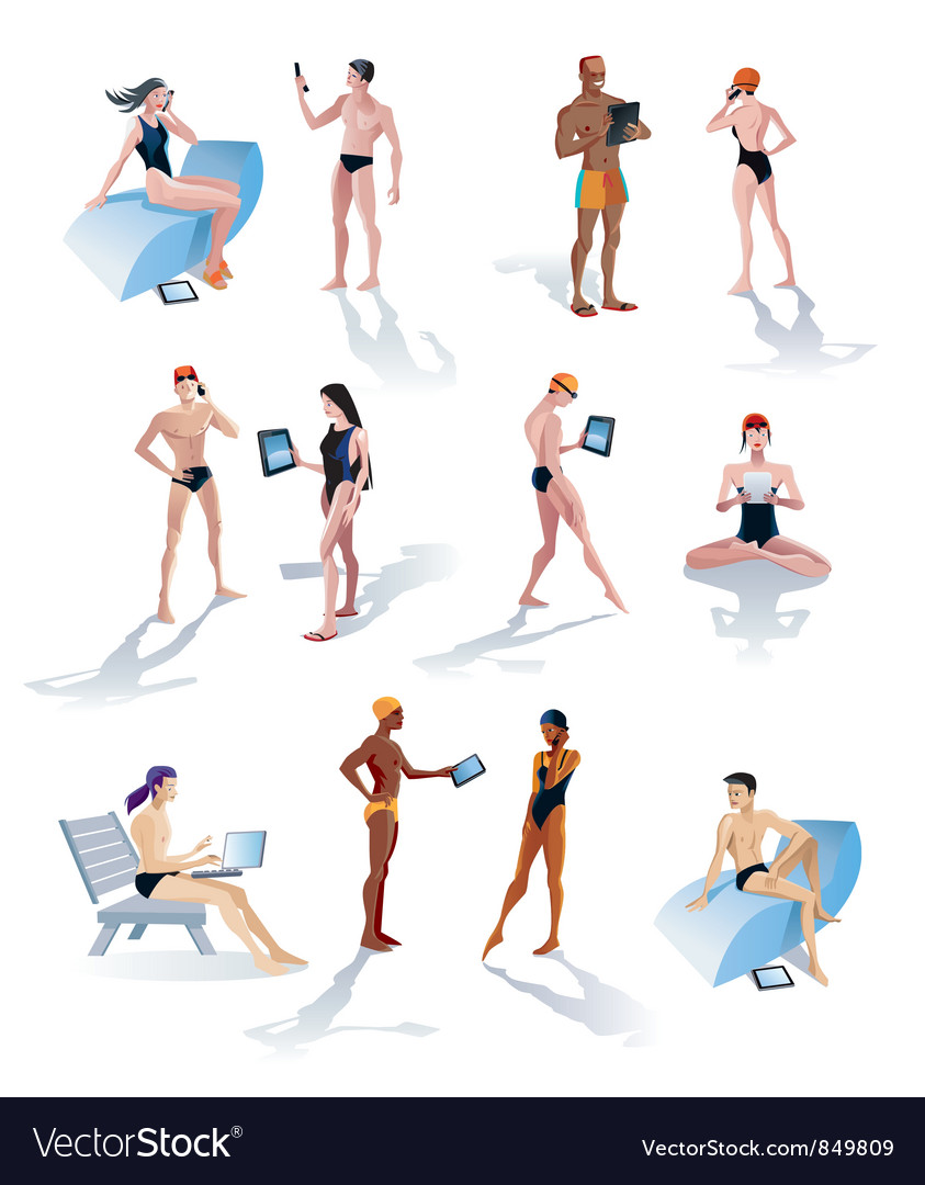 Twelve swimmers with technology vector | Price: 5 Credit (USD $5)