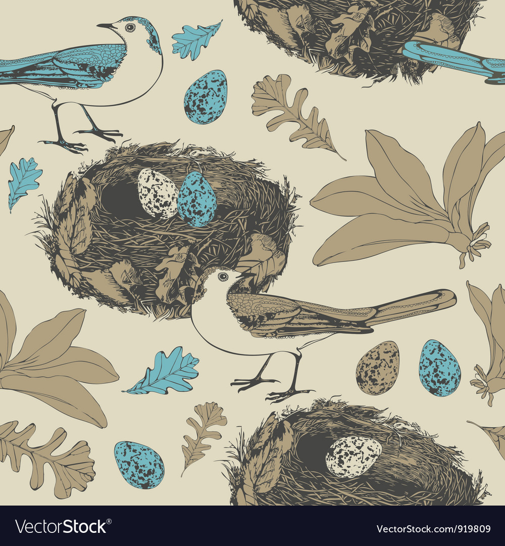 Vintage birds pattern vector | Price: 1 Credit (USD $1)