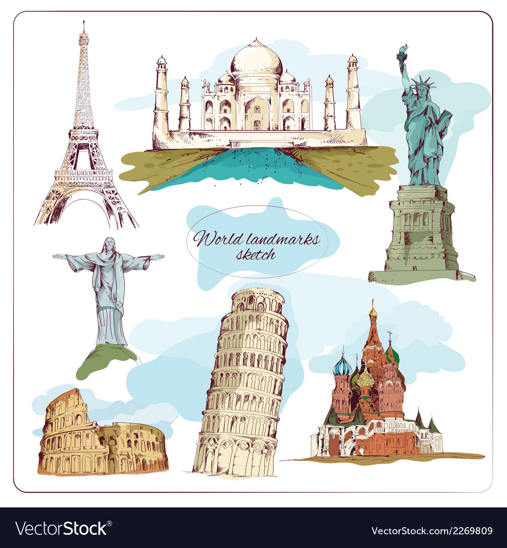 World landmark sketch colored vector | Price: 1 Credit (USD $1)
