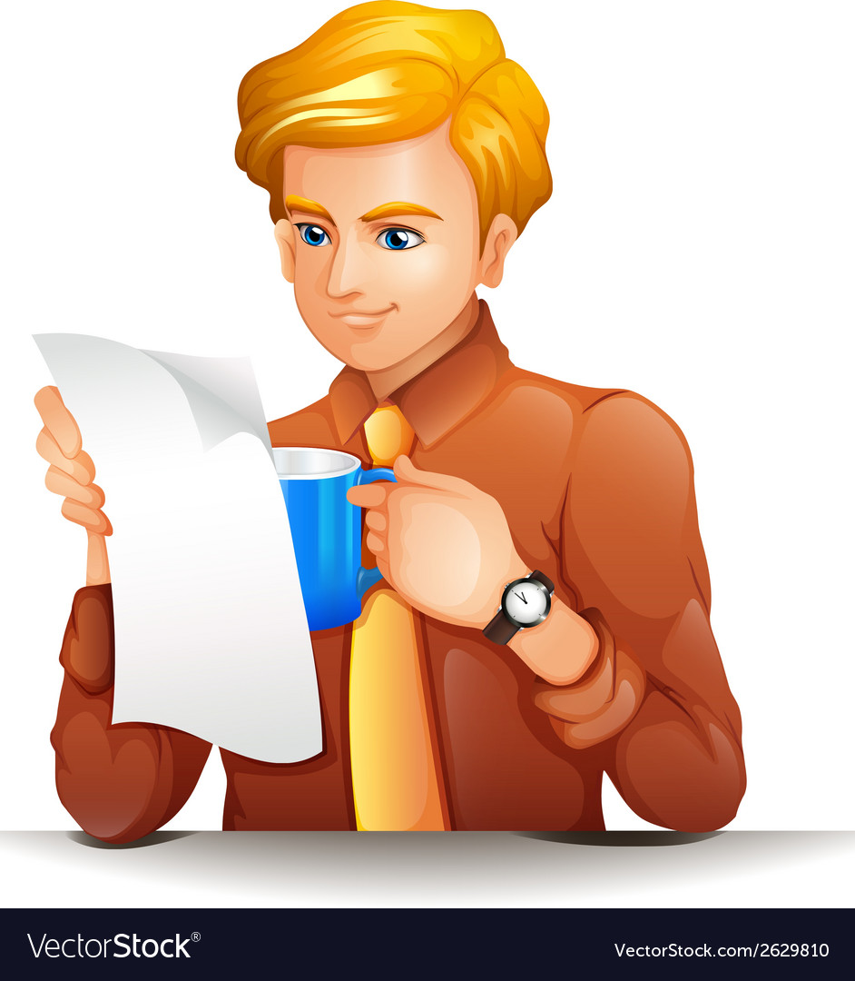 A man reading while holding a blue mug vector | Price: 1 Credit (USD $1)