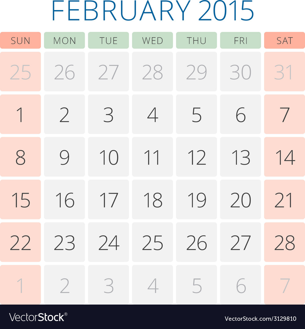 Calendar 2015 february design template vector | Price: 1 Credit (USD $1)