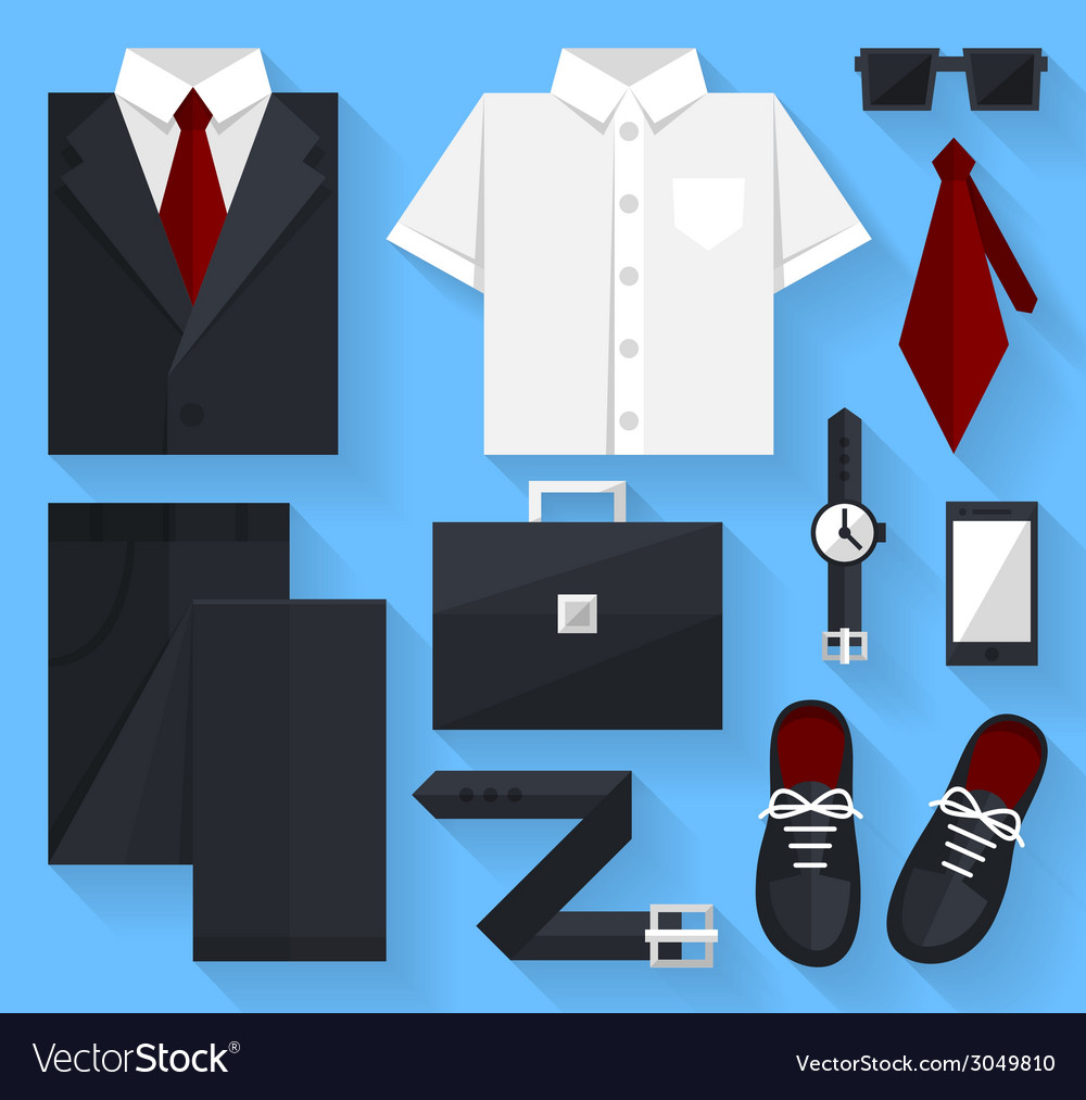 Flat business collection dress black color vector | Price: 1 Credit (USD $1)