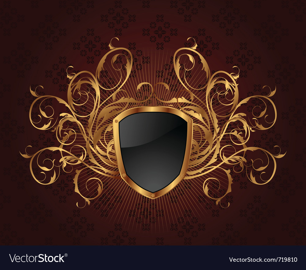 Golden ornate frame with shield - vector | Price: 1 Credit (USD $1)