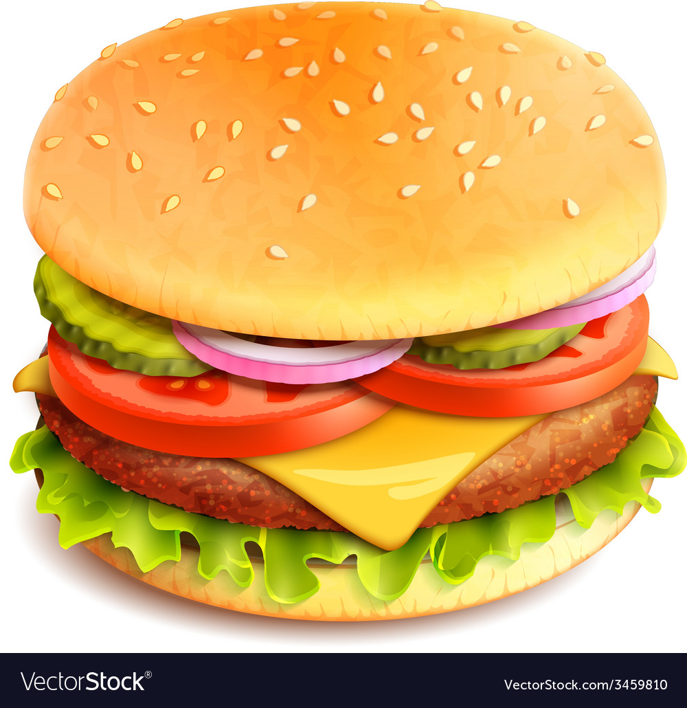 Hamburger realistic isolated vector | Price: 1 Credit (USD $1)