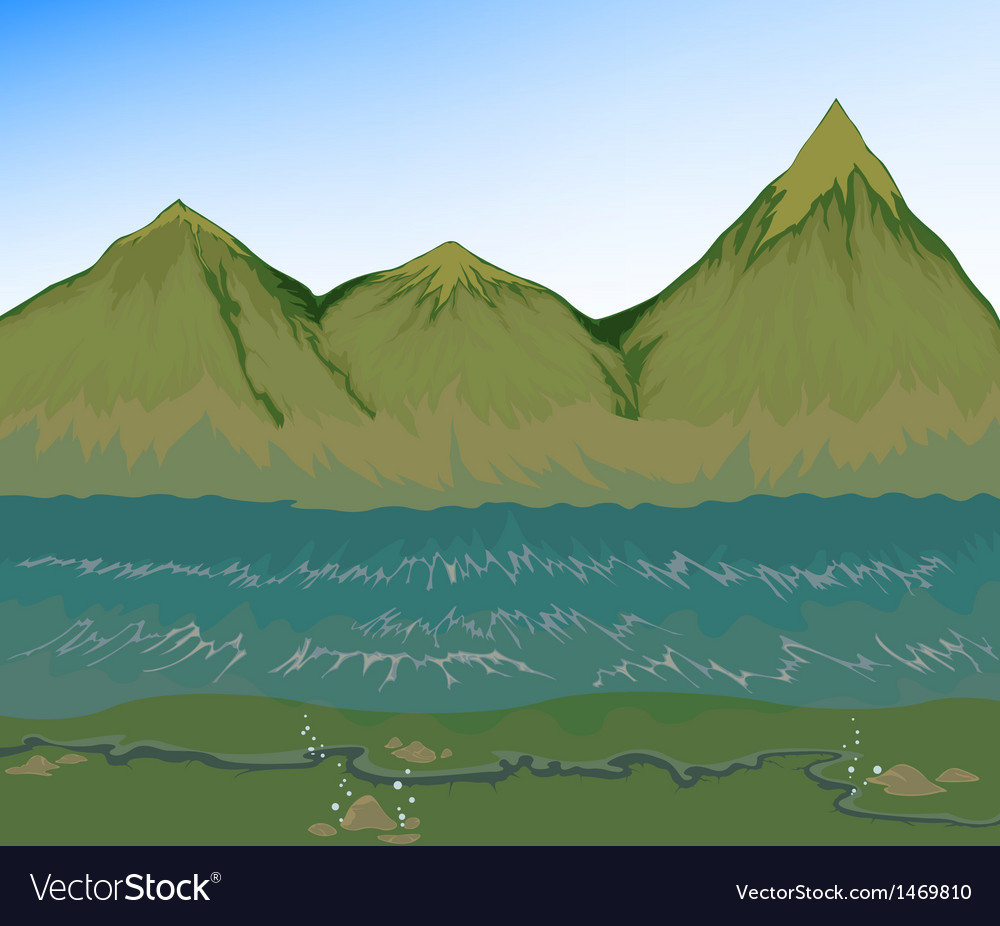 High tide sea with mountain vector | Price: 1 Credit (USD $1)